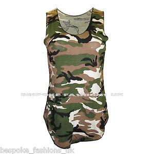 New Women's Camouflage Army Print Leggings,Vest Top & Cap Sleeve Midi Size SM ML