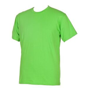 Neon lime green t shirt round neck athletic cut men amp for Mens athletic cut shirts