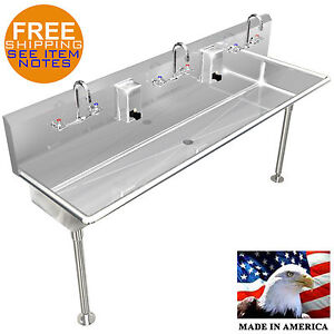 Commercial Wash Sink : COMMERCIAL-MULTI-STATION-3-USERS-WASH-UP-HAND-SINK-72