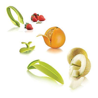 Vacu Vin Fruit Essentials 3pc Set - Strawberry Huller Orange Peeler Melon Slicer