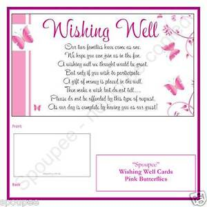 50 WISHING WELL CARDS general poem for wedding invitations White Pink Butterfly