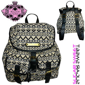 Ladies Owl Backpack Anna Smith LYDC Retro Aztec Print Rucksack Bag Shoulder Bag