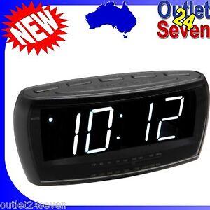 alarm clock am fm radio digital led black large big numbers sight impaired new ebay. Black Bedroom Furniture Sets. Home Design Ideas