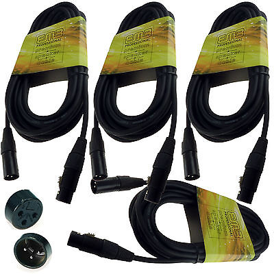 4 Pack 15' Feet Ft Xlr Microphone Mic Cables 18 Gauge Wire Free Usa Shipping