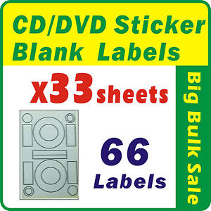 33 Sheets 66 Labels CD DVD Sticker Blank Labels Inkjet Laser Printer A4 Office