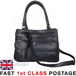 REAL Leather Handbag Shoulder Bag Cross Body Long Shoulder Strap 2 Compartments