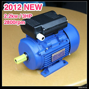 Electrical-motor-single-phase-240v-2-2kw-3HP-2800rpm-shaft-24mm