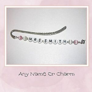Personalised-Pink-White-Bookmark-Any-Name-Or-Charm-Teachers-Thank-You-Gift