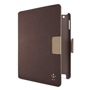 BELKIN CASE FOR IPAD 4 3 2 FOLIO CINEMA SWIVEL BROWN GENUINE LEATHER F8N759AUC01