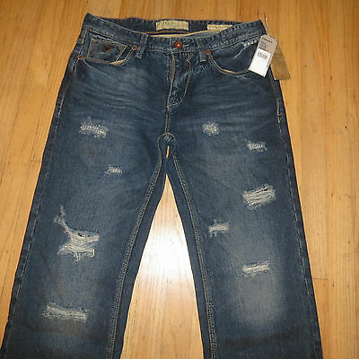 Guess Jeans Men 34 Lincoln Slim Straight Low Distressed Brand With Tags