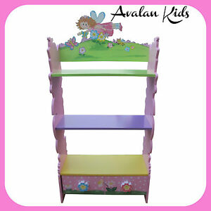 FLOWER-BOOKCASE-CHILDRENS-BOOKSHELF-TODDLERS-GIRLY-BOOK-STORAGE-WITH-DRAWER