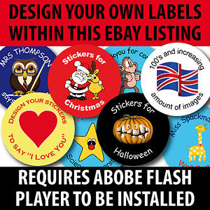 240 30mm Personalised Teachers Reward School Stickers Labels Halloween Xmas