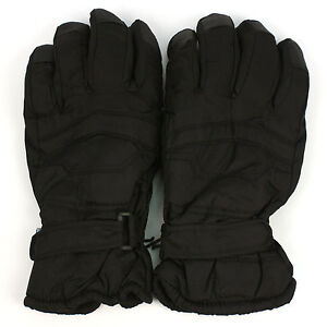 Men's Winter Thinsulate 3M Snow Grip Ski Velcro Wrist Cover Gloves Black 2XL