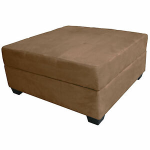 Large 35 Inch Square Storage Bench And Ottoman Suede Or Leather Choose