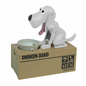 Hungry Eating Robot Dog Choken Bako Save Money Coin Piggy Bank White