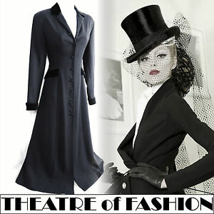 VINTAGE-LAURA-ASHLEY-RIDING-COAT-DRESS-VICTORIAN-EDWARDIAN-40s-MISTRESS-30s-NOIR