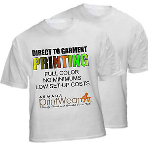 Full Color Custom Printed White T Shirt Dtg Personalized
