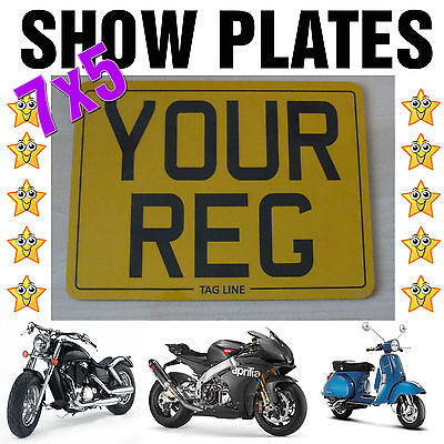"7""x5"" MOTORCYCLE BIKE SHOW STYLE SMALL Scooter REG NUMBER PLATE"
