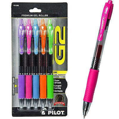 Pilot 31266 G2 07 Gel Ink Rolling Ball Pen Assorted Color 5-pack