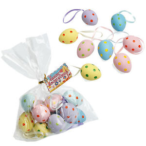dotcomgiftshop Set of 12 Spotty Hand Painted Hanging Easter Egg Decorations