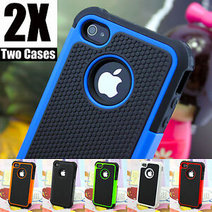Heavy Duty, Slicone Tough Tradesman Hard Case Cover For Iphone 4 and 4s X2