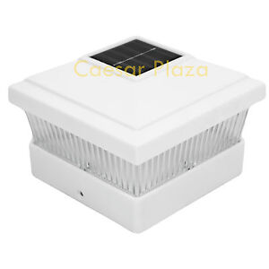 8-White-Outdoor-Garden-Solar-LED-Post-Deck-Cap-Square-Fence-Light-Landscape-Lamp