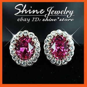 9K GOLD GF E90 Amethyst SWAROVSKI ENGAGEMENT WEDDING BRIDAL STUD WOMENS EARRINGS