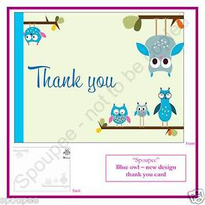 10 NOTE CARDS THANK YOU CARD - NEW DESIGN blue owl new baby boy birthday shower