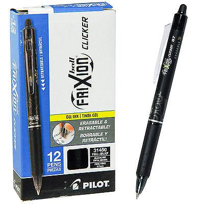 Pilot Frixion Ball Clicker 0.7 Retractable Erasable Black Ink Gel Pen Box Of 12