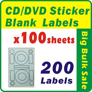 100 sheets 200 labels cd dvd sticker blank labels inkjet for Dvd sticker printing