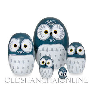 Owl Wood Nesting Doll Handpainted 5 PC matryoshka