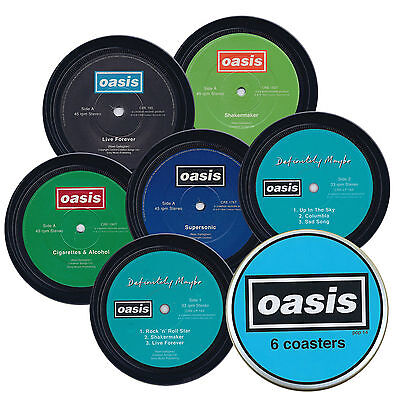 OASIS. 6 coasters in a tin. Shakermaker Supersonic Live Forever Definitely Maybe