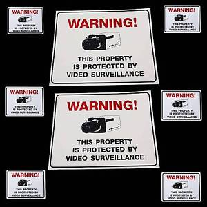 LOT CCTV SECURITY CAMERA SYSTEM WARNING SIGNS+STICKERS
