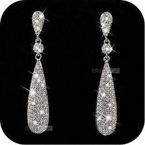 18k white gold gp genuine SWAROVSKI crystal stud earrings dangle long