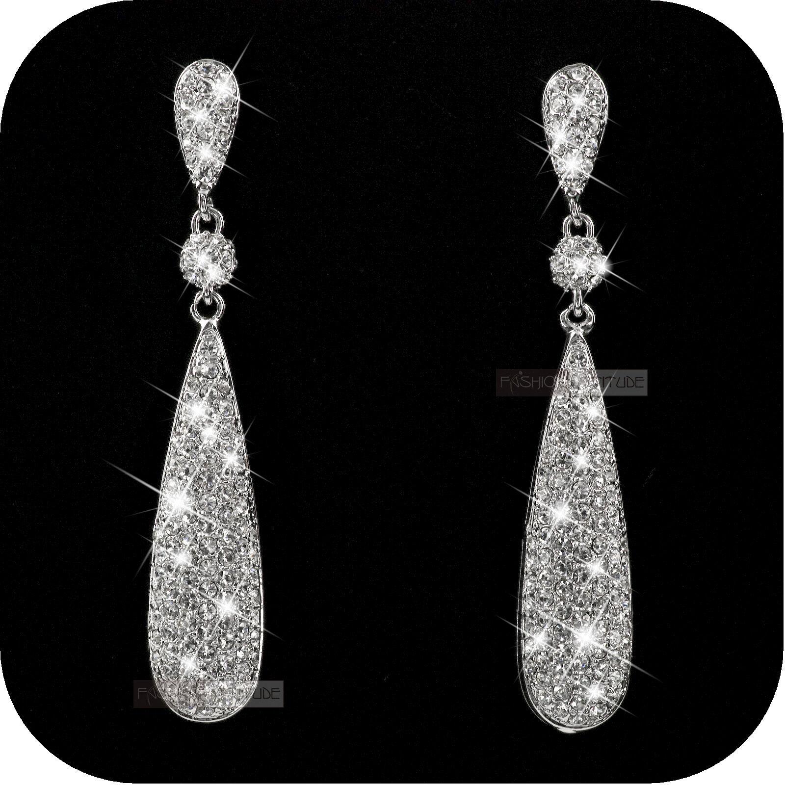 18k White Gold Gp Made With Swarovski Crystal Stud Earrings Dangle Long