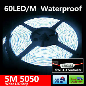 5050-white-5M-300LEDs-LED-Strip-Light-12V-Waterproof-mini-controller-connector