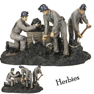 Classic-Working-Coal-Miners-Resin-Figurine-Statue-New-In-Gift-Box