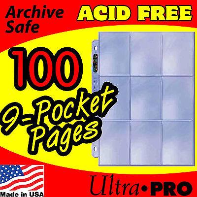 100 - 9 Pocket Pages Ultra Pro Silver Mtg Baseball Nhl W/display Box 81442-100