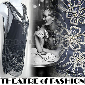VINTAGE-TOPSHOP-20s-DRESS-BEAD-FLAPPER-TOP-30s-JAZZ-AGE-ART-DECO-WEDDING