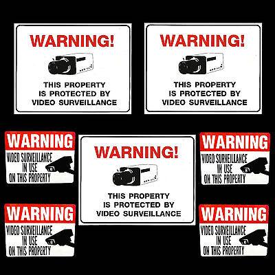 Security System Video Surveillance Cameras Alarm Warning Yard Signsstickers Lot