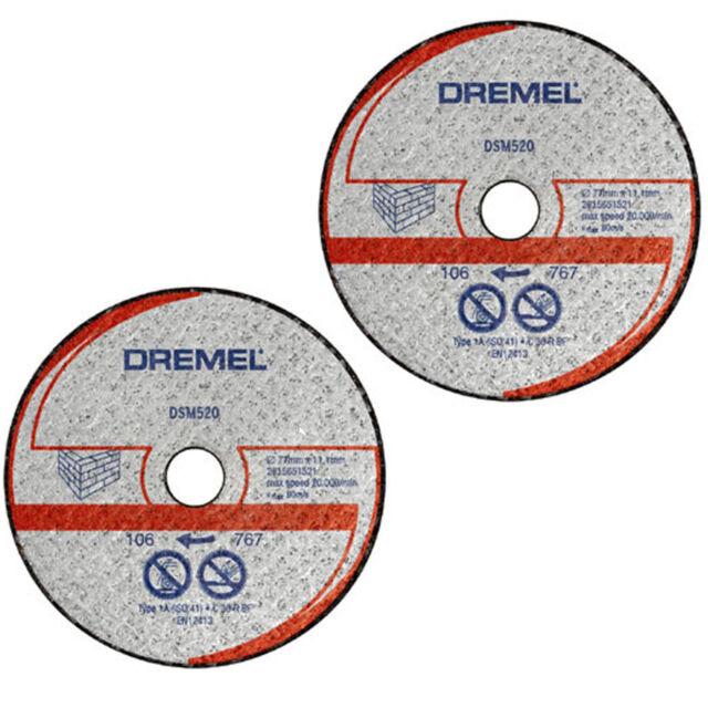 Dremel 2 x DSM520 Stone/Masonry Cutting Wheel/Disc/Blade for DSM20 Saw-Max Tool