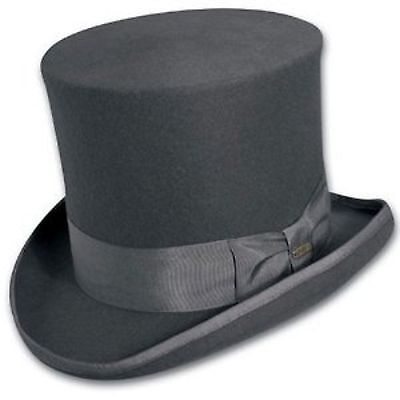 Top Hat Grey Victorian SCALA Tuxedo Mad Hatter 100% Wool Dress Hat SMALL