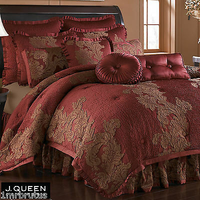 J Queen New York Anastasia Red Round Tufted Pillow