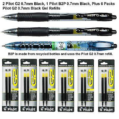 Pilot G2 07 Pen With Refills, 0.7mm Black Gel Ink, 9 Piece Assortment Pack