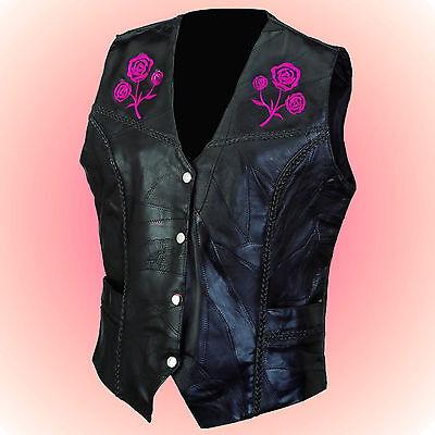 -Ladies ROSE Leather Motorcycle Biker Vest--Size 4X (4XL) --Braided Trim