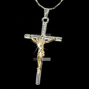 18k 2-tone white yellow gold GF Jesus cross CRUCIFIX classic pendant necklace
