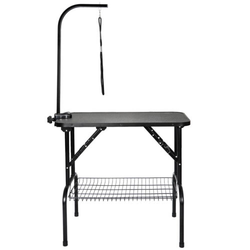 """32"""" Large Portable Pet Dog Cat Grooming Table Dog Show W/Arm &Noose & Mesh Tray Dog Supplies"""