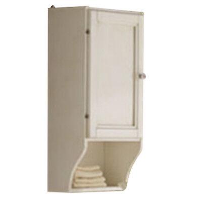 Pensile singolo da bagni in decapè bianco con anta in legno e ripiano cm33X21X71