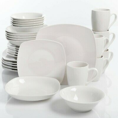Dinnerware Sets Square (White 30-Piece Porcelain Dinnerware Set Square Dinner Plates Dish Service For)