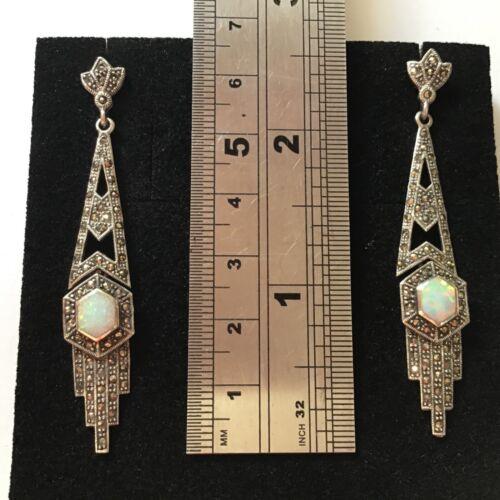 Art Deco Sterling Silver Marcasite Opal Geometric hexagon Long Dangle Earrings
